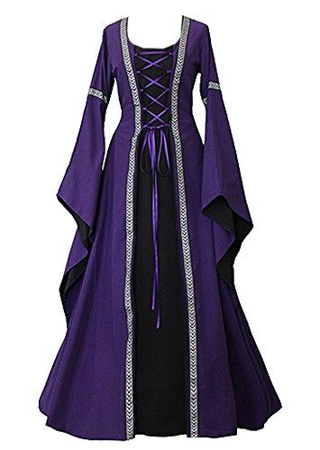 Cosplaydiy Women's Medieval Hooded Fancy Dress Victorian Costume Halloween Vintage Dress by (Victorian Princess Costume)