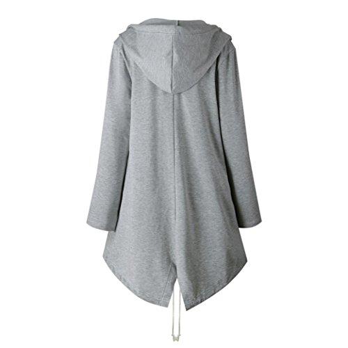 HARRYSTORE 2017 Chaqueta con capucha de la chaqueta de la manga larga ocasional del otoño de las mujeres ocasionales pronta hacia fuera Gris