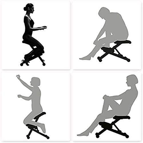 Jakroo Orthopédique Ergonomique Tabouret de Posture Chaise À Genoux, Tabouret de Posture en Métal Tissu en Maille Chaise À Genoux Ajustable, Noir