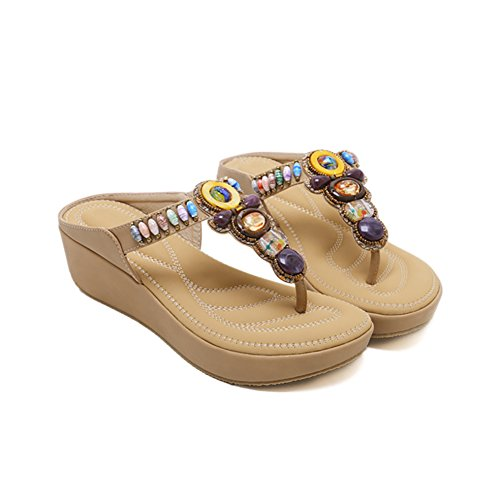 Ruiren Women Bohemian Beeded Wedge Sandals,Summer Beach Flip-Flops Shoes for Ladies Apricot