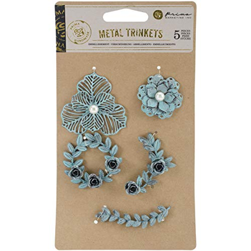 Metal Tags Embellishments - Prima Marketing 655350584924 Metal Patina Trinkets Flowers & Vines Scrapbooking Embellishments