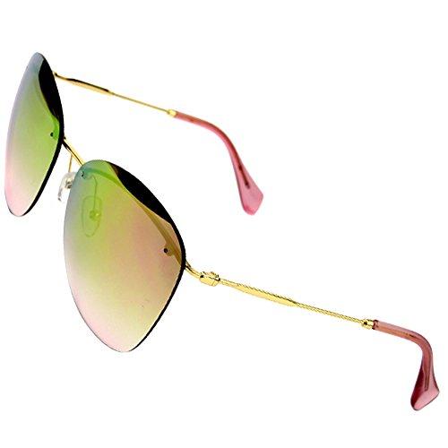 Sumery Fashion Designer Rimless Silver Or Gold Arm Sunglasses Women Ladies (Gold, - Gaultier Junior Sunglasses
