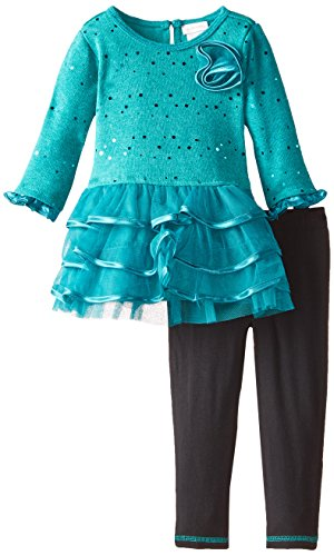 Youngland Little Girls' Sparkle Brushed Sweater Knit and Mesh Tiered Dress, Turquoise, 4