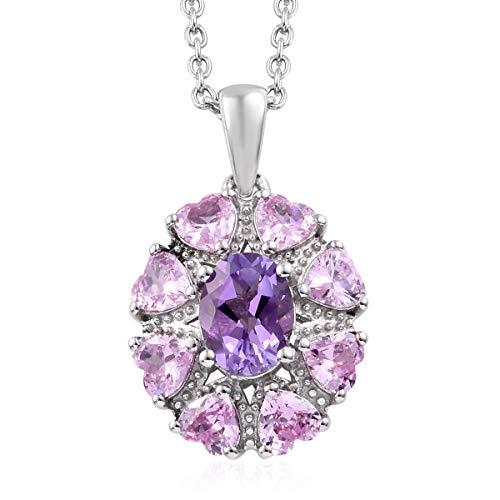 Shop LC Delivering Joy Rose De France Amethyst Pink Platinum Pendant Necklace in Stainless Steel 20