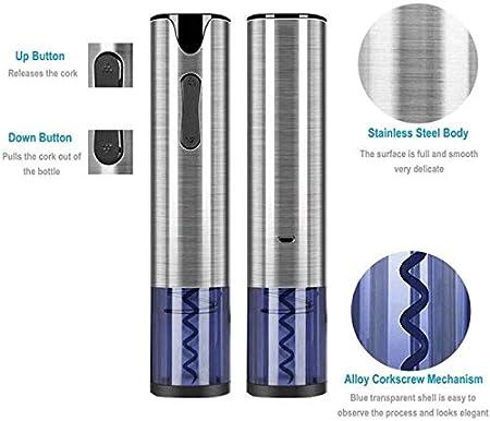 Z-Color Abridor de Vino eléctrico, batería automática Sacacorchos con Cortador de láminas y Cable USB, removedor de Corcho Recargable para camareros de camareros