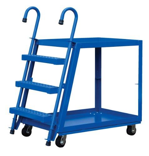 "Vestil SPS2-2236 Steel Service Cart with Step Ladder, 2 Shelves, Blue, 1000 lbs Load Capacity, 35-5/8"" Height, 36"" Length x 22"" Width"