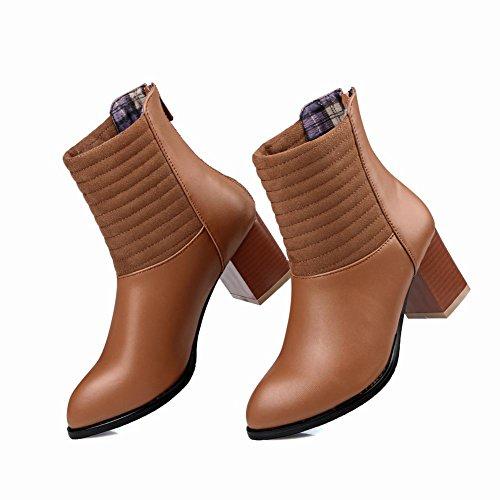 Charm Foot Womens Chunky Heel High Top Western Boots Brown KlE1GM4c