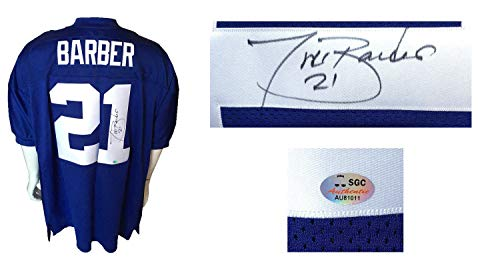 Tiki Barber Autographed Signed Authentic Ny Giants Football Jersey Autograph Sgc Authentic ()