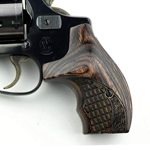 Altamont - S&W J Round Revolver Grips - Boot - Real Wood Gun Grips fit Smith & Wesson J Frame Round Butt .38 Special and 9mm Revolvers - Made in USA - Walnut - Croc (Pistol Grips For Smith And Wesson Revolvers)