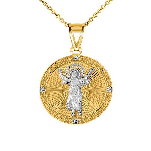 "10k Two-Tone Gold Divino Niño Jesús Medal Diamond Charm Pendant Necklace, 18"""