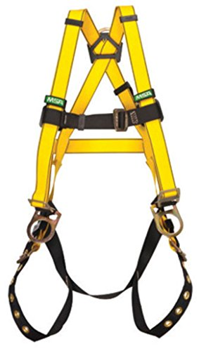 MSA (Mine Safety Appliances) 10077572 X-Large Workman Construction Style Harness w/ Qwik-Fit Chest Strap Buckle, Tongue Leg Strap Buckle, Back & Hip D-Ring, Shoulder Pad, Integral Back Pad & Tool
