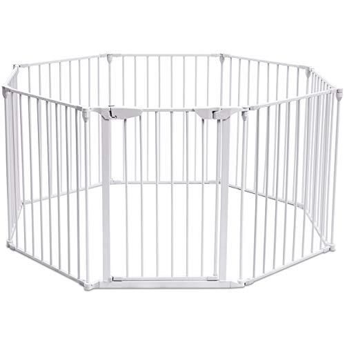 Costzon Baby Safety Gate, 4-in-1 Fireplace Fence, 204-Inch Wide Barrier with Walk-Through Door in Two Directions, Add/Decrease Panels Directly, Wall-Mount Metal Gate for Pet & Child (White, 8-Panel) For Sale