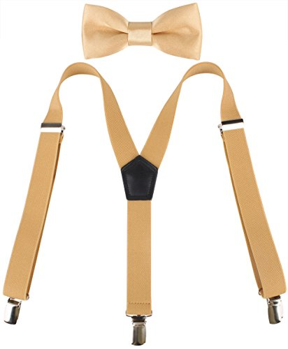 - Kat Cheung Bahar 2PCS Bow Tie And Suspenders Set For Kids Boys 6 Clips Adjustable and Elastic Braces Y Shape (Gold)