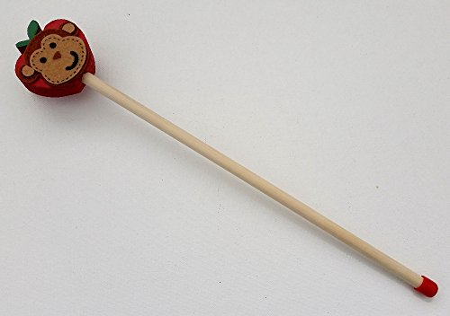 Wooden Pointer, AA-732APMK12 - 12' MADE IN USA w/Wood Apple/Monkey made of felt & red rubber end cap, perfect for smart board screen. The short pointer is specially made for children book reading.