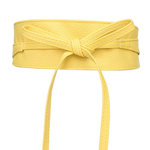 Belt Leather Soft Cinch - Women's Soft Faux Leather Wrap Around Obi Style Bow Tie Waist Band Belt for Dress (Yellow)