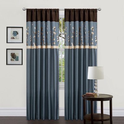 Triangle Home Fashions Lush Decor 42 Inch X 84 Inch Cocoa Blossom Curtain Blue Brown 2 Panels