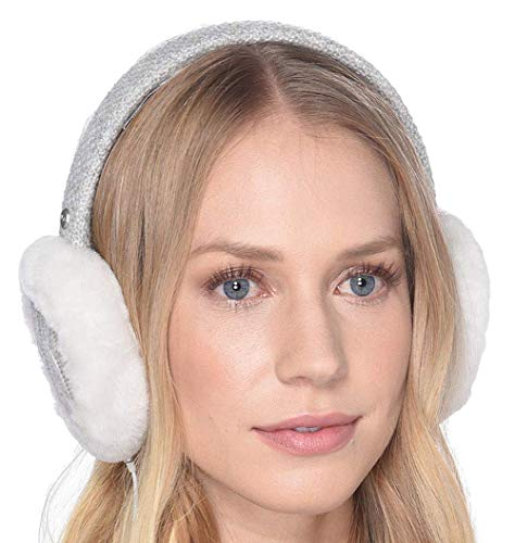 UGG Women's Cable Knit Water Resistant Sheepskin Earmuff with Tech Option Light Grey One Size