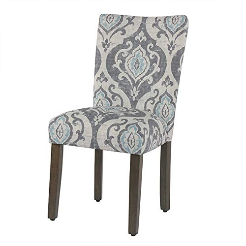 Suri bluee Set of 2 HomePop Parsons Classic Upholstered Accent Dining Chair, Set of 2, Navy and Cream Geometric