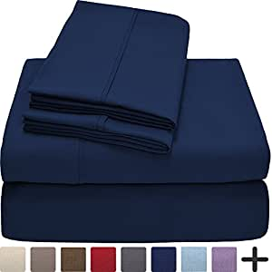 Premium 1800 Ultra-Soft Microfiber Sheet Set Twin Extra Long - Double Brushed - Hypoallergenic - Wrinkle Resistant (Twin XL, Dark Blue)