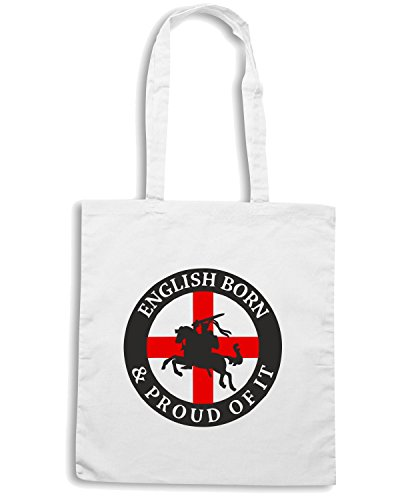T-Shirtshock - Bolsa para la compra TSTEM0035 english born and proud off it Blanco