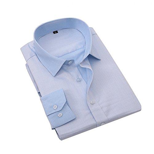 Bmeigo Hombre manga larga Button Down Camisas de vestir -H19 Blue