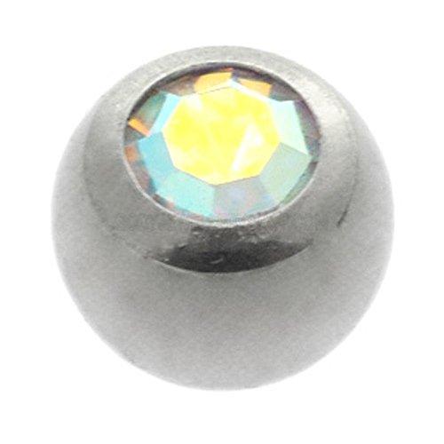 Titanium Threaded Jewelled Balls - Ti-Glo - AB Crystal 6mm ()