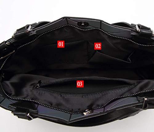 Portable Luminous Shoulder Geometric Black Women Bags Lingge Messenger Folding Bag vq1xw