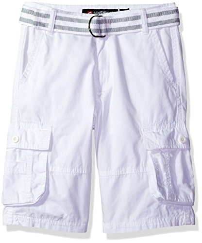 Southpole  Boys' Belted Mini Canvas Cargo Shorts in Various Colors, White, 16
