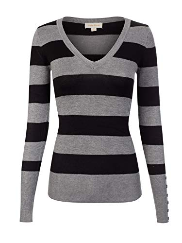 Design by Olivia Women's Basic Long Sleeve Stripe Pullover Sweater Black/HeatherGrey M