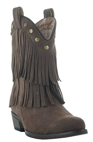 Little Kids Fun Fringe Brown Cowgirl Boots by Country Love Boots (10.5 Little Kid, Brown)