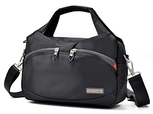 - Crest Design Waterproof Nylon Crossbody Bags for Women Multi Pocket Shoulder Bag Travel Purse and Handbag (Black)