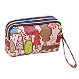 Ladies Fashion Small Card Case Wallet Change Coin Purse Pouch Bag with Zipper, Colorful Forest