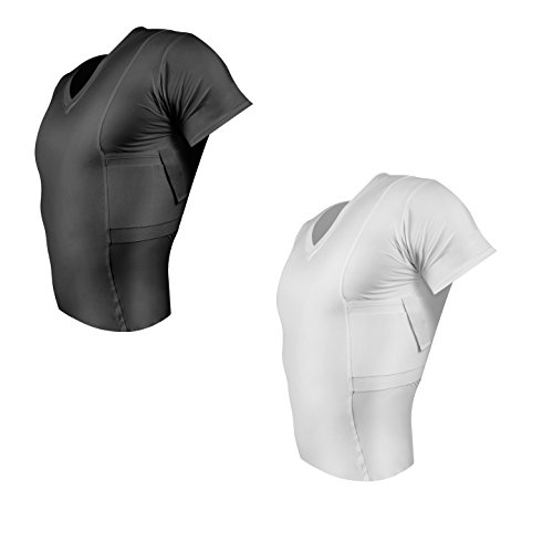 ConcealmentClothes Men's V-Neck Undercover- Concealed Carry Holster Shirt- 2 Pack- Black and White- X-Large