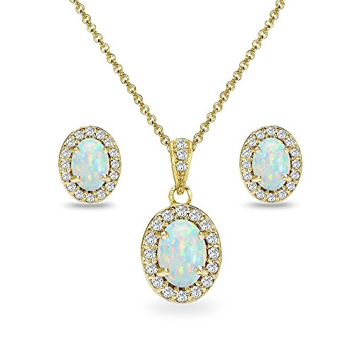 (Yellow Gold Flashed Sterling Silver Simulated Opal & CZ Oval Halo Necklace & Stud Earrings Set with CZ Accents)