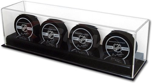 Collectible Size Deluxe Acrylic 4 Hockey Puck Display Case Holder ()