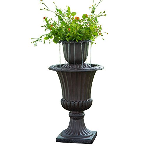Peaktop – Outdoor 28.35″ Urn Flower Pot Water Fountain