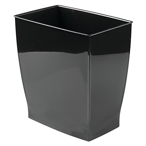 InterDesign Mono Wastebasket Trash Can-Rectangular, Black