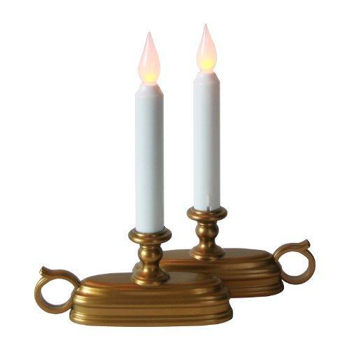 LampLust Brass Window Candles with White Flameless Tapers and Auto-Timer   Warm White LEDs, Batteries Included - Set of 2 (Best Rated Window Candles)