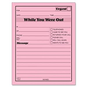 TOPS Important Message One-Sided Note Pads, 4.25 x 5.5 Inches, Pink, 50 Sheets per Pad, 12 Pads per Pack (3002P)
