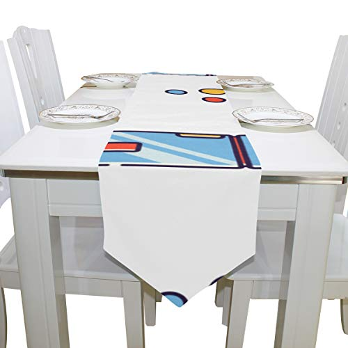 Liaosax Cover Table Refrigerator Electrical Pattern Cloth Cover Table Runner Tablecloth Kitchen Dining Room Home Decor Indoor 13x90 Inch Books Table Cloth -