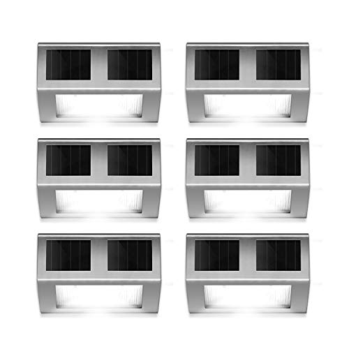 (HIGUNE Outdoor Solar Powered LED Stainless Wall Light Step Light for Patio, Deck, Yard, Garden Fence Roof Gutter Sun Power Smart Security Light(6-Pack))