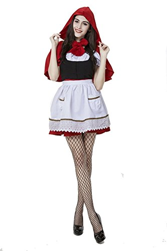 Halloween Costumes Little Red Riding Hood Cosplay Stage Row Show Role Play (XL) (Little Red Riding Hood Cosplay)