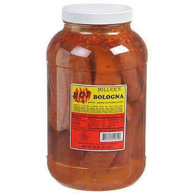 Miller's Hot Bologna - 56 oz. jar (pack of 6) by Miller