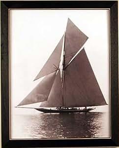 Sailboat Sea Nautical Sepia Framed Print Picture