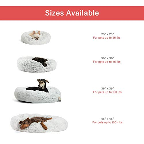 Best Friends by Sheri Luxury Shag Fur Donut Cuddler (30x30 Zippered, Frost) – Medium Round Dog & Cat Cushion Bed, Removable Shell, Warming, Cozy - Prime, Machine Washable - Medium Pets Up to 45lbs by Best Friends by Sheri (Image #5)