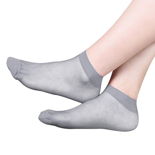 ,Laimeng, 10 Pairs Ultra-thin Elastic Silky Women Ankle Socks (Grey) - Ultra Thin Cotton