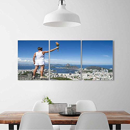 L-QN 3 Pieces Multiple Pictures Wall Art Frameless Old fashioned athlete in classic vintage white sports uniform standing holding sport torch perfect wall decoration W16 x H32 x 3pcs