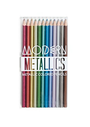 OOLY Modern Metallic Colored Pencils - 12 Unique Pencil Colors - Includes Clear Plastic Box