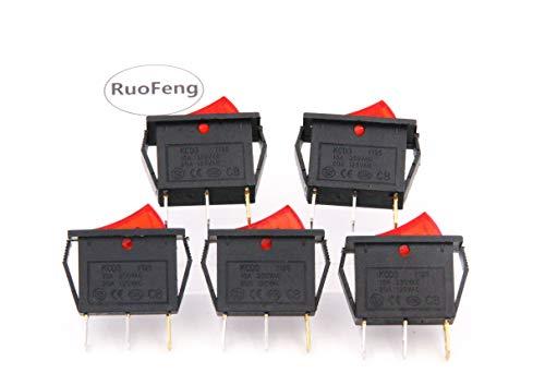 (15A 250V/20A 125V 3 Pin AC Rocker Switch KCD3 Switch 5 Pcs)