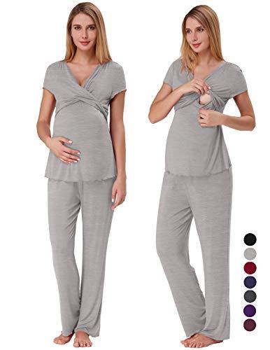 Pregnancy Clothing for Women Soft Nursing Pajama Set with Bottoms Grey M ZE45-2